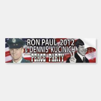Ron Paul & Dennis Kucinich 2012 Peace Party Bumper Sticker