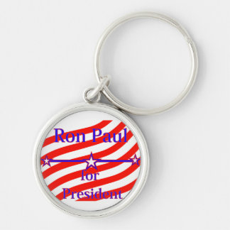 Ron Paul For President Strips With 3 Stars And Lin Silver-Colored Round Key Ring