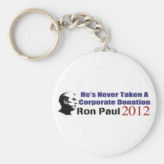 Ron Paul Has Never Taken A Corporate Donation Basic Round Button Key Ring