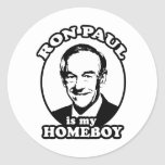 Ron Paul is my homeboy Classic Round Sticker