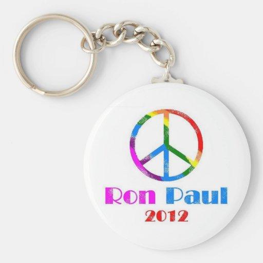 Ron Paul Peace Sign Rainbow Keychain