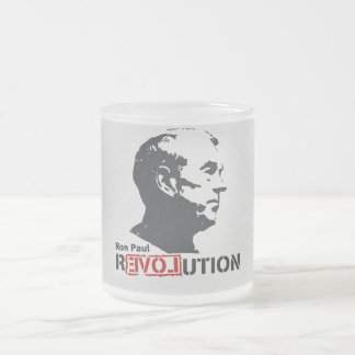 Ron Paul rEVOLution Face Stencil Frosted Glass Mug