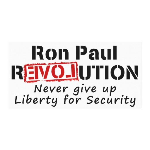 Ron Paul rEVOLution Never give up Liberty Gallery Wrapped Canvas