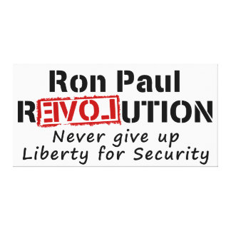 Ron Paul rEVOLution Never give up Liberty Stretched Canvas Prints