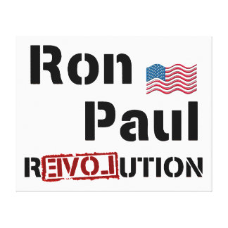 Ron Paul Revolution With American Flag Canvas Prints