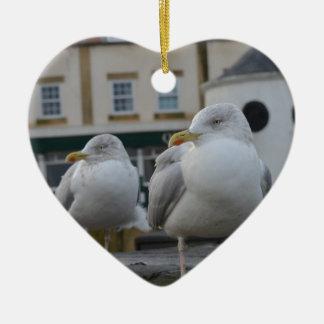 Ron & Reg Seagulls Ceramic Heart Decoration