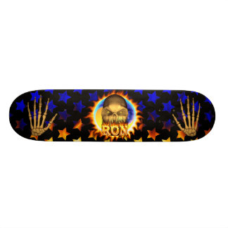 Ron skull real fire and flames skateboard design