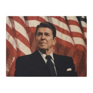 Ronald Reagan American Flag Wood Print