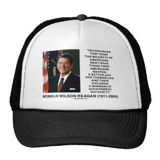 Ronald Reagan Americans Want Minimum Gov t Authrty Hats