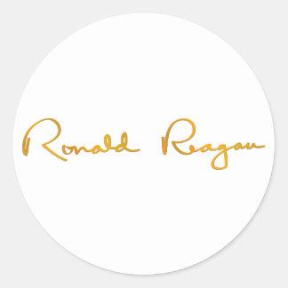 Ronald Reagan Gold Signature Round Sticker