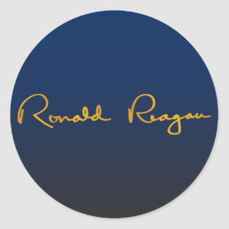 Ronald Reagan Gold Signature Round Sticker