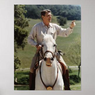 Ronald Reagan On Horseback Poster