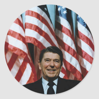 ronald reagan round stickers