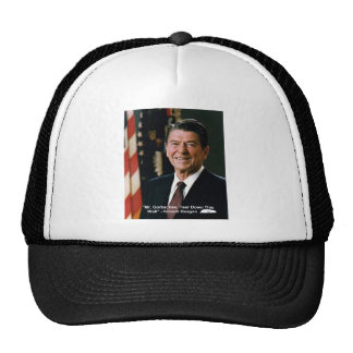 """Ronald Reagan """"Tear Down Wall"""" Wisdom Quote Gifts Mesh Hat"""
