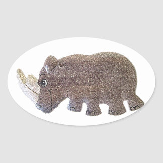 Ronald Rhino Oval Sticker