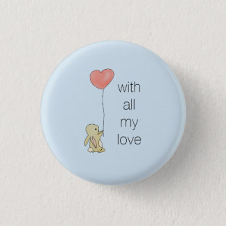 Roo Bunny - Love Heart Balloon 3 Cm Round Badge