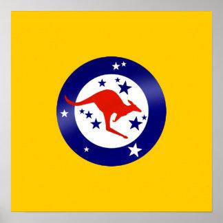 Roo Flag of Australia Round logo artwork graphic Poster