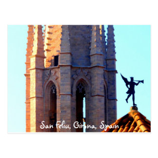 Roof of the Sant Feliu Cathedral, Girona, Spain Postcard