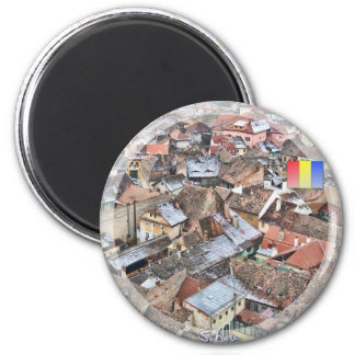 Roof tops 6 cm round magnet
