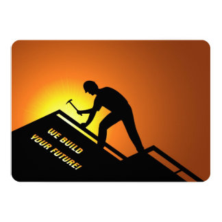 Roofing Worker 13 Cm X 18 Cm Invitation Card