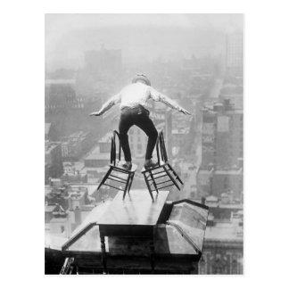Rooftop Balancing Act, 1910 Postcard