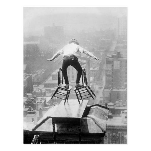 Rooftop Balancing Act, 1910 Post Cards