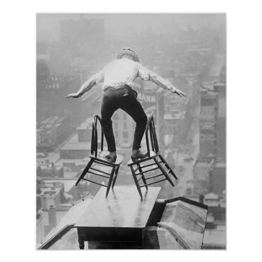 Rooftop Balancing Act, 1910. Vintage Photo Poster
