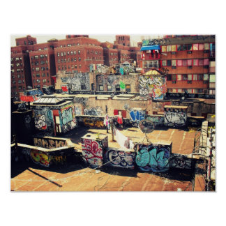 Rooftop Graffiti in Chinatown Print