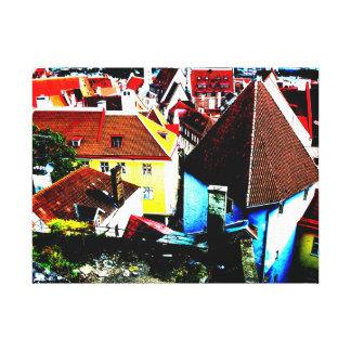 Rooftop medieval cityscape Tallin Estonia Gallery Wrap Canvas
