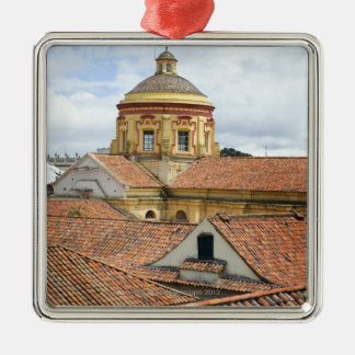 Rooftops in Bogota Silver-Colored Square Decoration