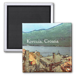Rooftops in Korcula Square Magnet
