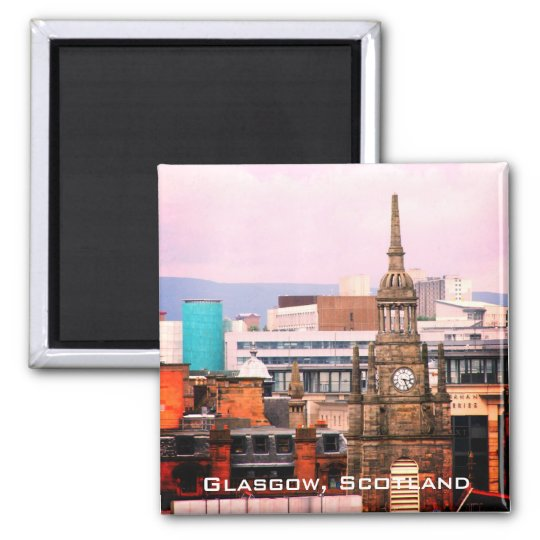 Rooftops of Glasgow, Scotland, fridge magnet