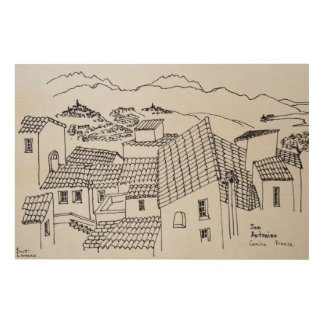 Rooftops of Sant'Antonino | Corsica, France Wood Print