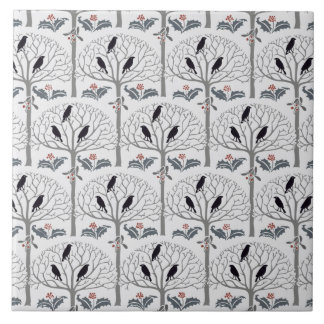 Rook and Holly Pattern Christmas Art Tile Trivet