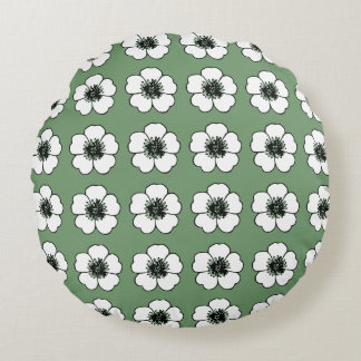 Room-Accents-Cottage-Flowers(c)Green- Round Round Cushion