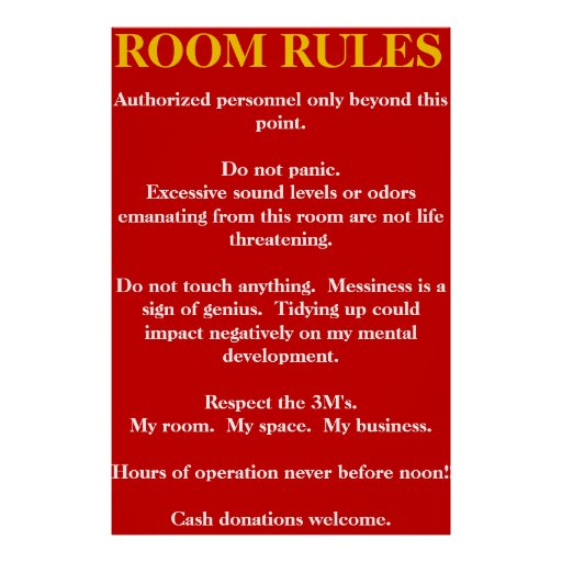 Room Rules Poster