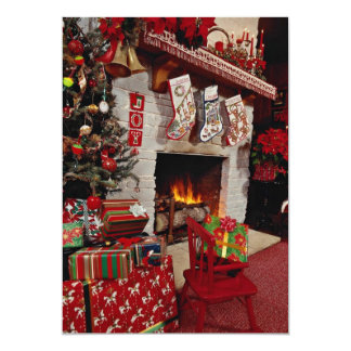 Room with stone fireplace, Christmas setting 13 Cm X 18 Cm Invitation Card