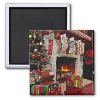 Room with stone fireplace, Christmas setting Refrigerator Magnets