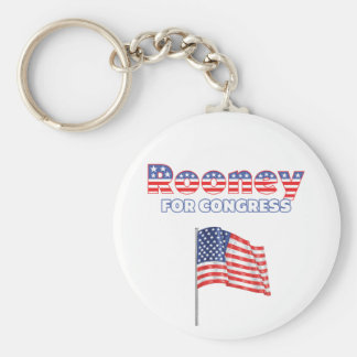 Rooney for Congress Patriotic American Flag Design Basic Round Button Key Ring