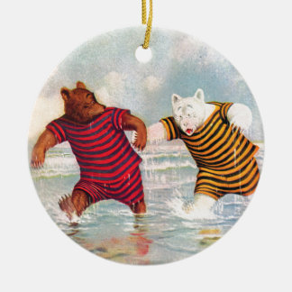 Roosevelt Bears at Atlantic City Beach Christmas Ornament