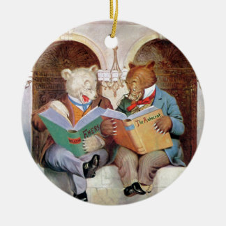 Roosevelt Bears at the Public Library Round Ceramic Decoration