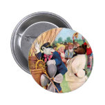 Roosevelt Bears Fly in  Hot Air Balloon 6 Cm Round Badge