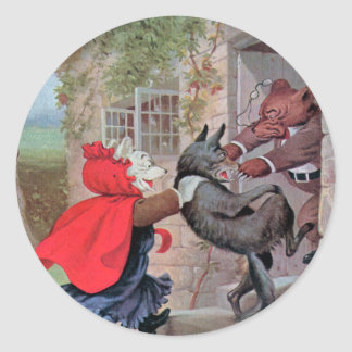 Roosevelt Bears Play Little Red Riding Hood Round Sticker