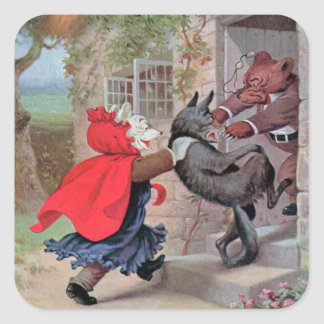Roosevelt Bears Play Little Red Riding Hood Square Sticker