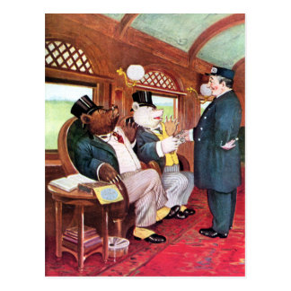 Roosevelt Bears Ride on a Train Post Card