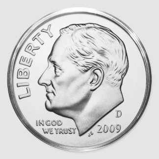 Roosevelt Dime (pack of 6/20) Classic Round Sticker