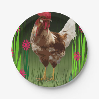 Rooster 7 Inch Paper Plate
