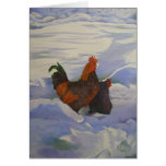 Rooster and Hen in the Snow Greeting Card