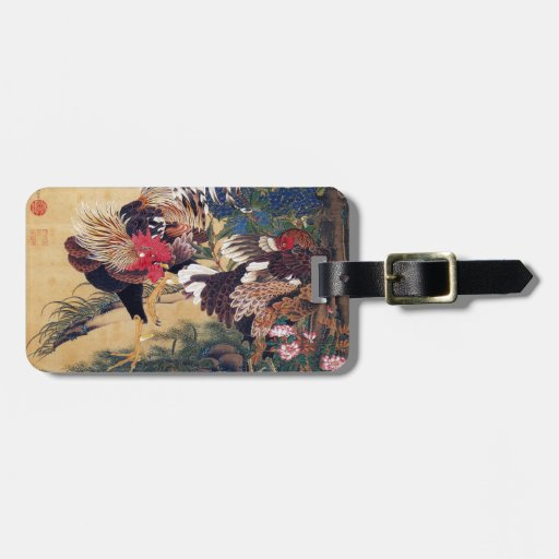 Rooster and Hen Bag Tag