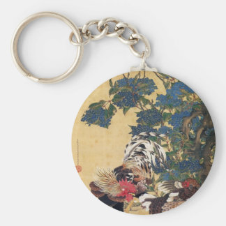 Rooster and Hen with Hydrangeas by Ito Jakuchu Basic Round Button Key Ring